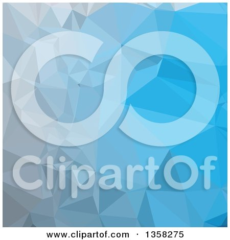 Clipart of a Capri Blue Low Poly Abstract Geometric Background - Royalty Free Vector Illustration by patrimonio