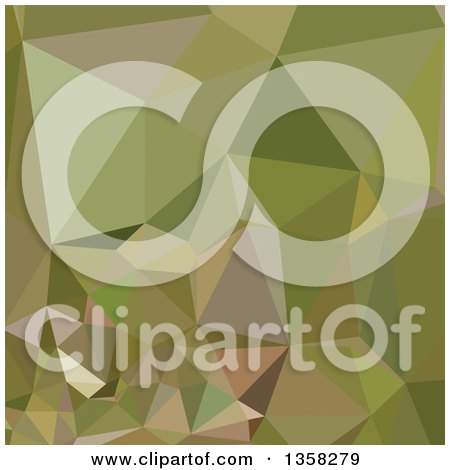 Clipart of a Dark Olive Green Low Poly Abstract Geometric Background - Royalty Free Vector Illustration by patrimonio