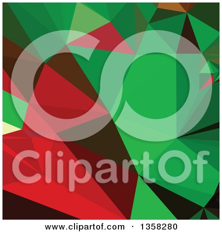Clipart of a Green and Red Low Poly Abstract Geometric Background - Royalty Free Vector Illustration by patrimonio