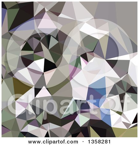 Clipart of a Davy Grey Low Poly Abstract Geometric Background - Royalty Free Vector Illustration by patrimonio