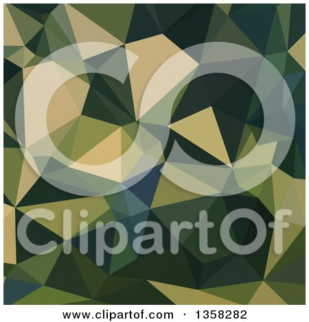 Clipart of an English Green Low Poly Abstract Geometric Background - Royalty Free Vector Illustration by patrimonio