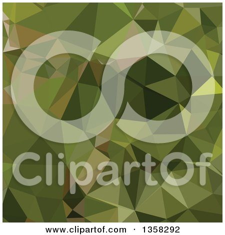 Clipart of a Sap Green Low Poly Abstract Geometric Background - Royalty Free Vector Illustration by patrimonio