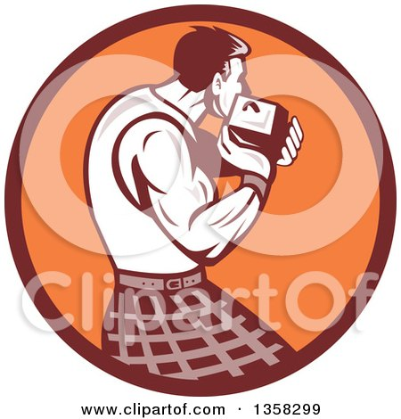 Clipart of a Retro Scotsman Athlete Wearing a Kilt, Playing a Highland Weight Throwing Game in a Brown and Orange Circle - Royalty Free Vector Illustration by patrimonio