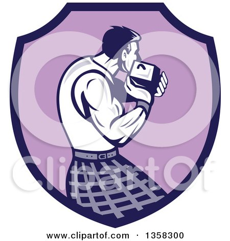 Clipart of a Retro Scotsman Athlete Wearing a Kilt, Playing a Highland Weight Throwing Game in a Purple Shield - Royalty Free Vector Illustration by patrimonio