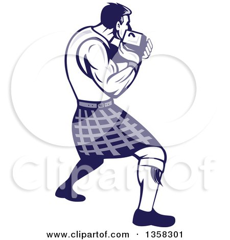 Clipart of a Retro Scotsman Athlete Wearing a Kilt, Playing a Highland Weight Throwing Game - Royalty Free Vector Illustration by patrimonio