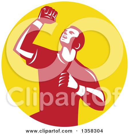 Clipart of a Retro Male Athlete Doing a Fist Pump in a Yellow Circle - Royalty Free Vector Illustration by patrimonio