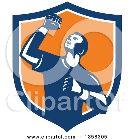 Clipart of a Retro Male Athlete Doing a Fist Pump in a Blue White and Orange Shield - Royalty Free Vector Illustration by patrimonio