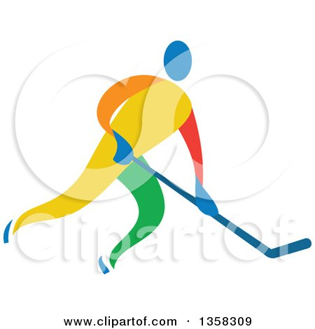 Clipart of a Colorful Athlete Playing Ice Hockey - Royalty Free Vector Illustration by patrimonio