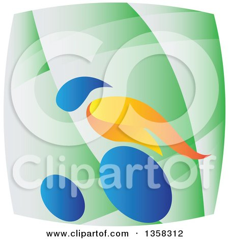 Clipart of a Colorful Athlete Racing in a Wheelchair on a Green Square - Royalty Free Vector Illustration by patrimonio
