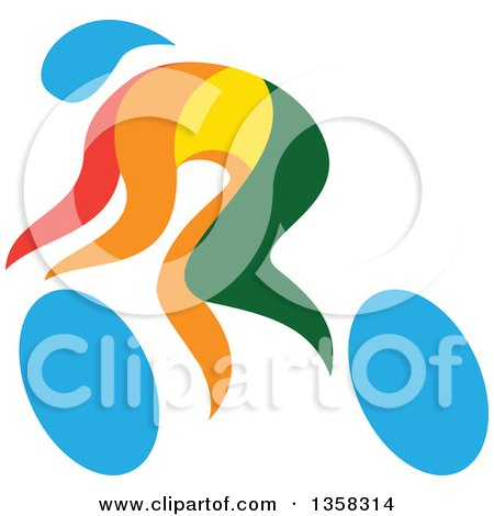 Clipart of a Colorful Athlete Racing in a Wheelchair or on a Bicycle - Royalty Free Vector Illustration by patrimonio