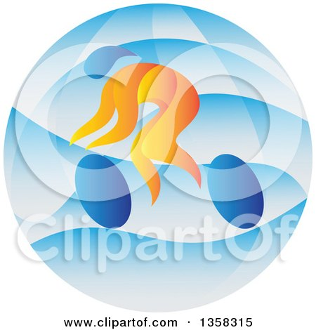 Clipart of a Colorful Athlete Cyclist in a Blue Circle - Royalty Free Vector Illustration by patrimonio