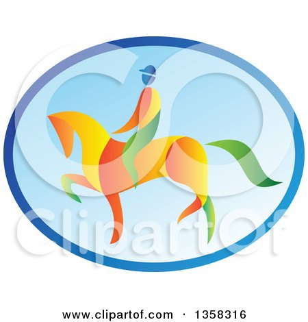 Clipart of a Colorful Equestrian on a Horse in a Blue Oval - Royalty Free Vector Illustration by patrimonio