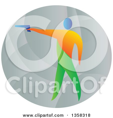 Clipart of a Colorful Athlete Shooting an Air Pistol in an Oval - Royalty Free Vector Illustration by patrimonio
