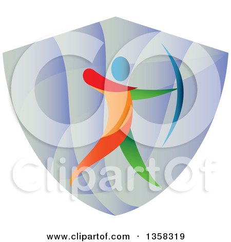 Clipart of a Colorful Athlete Archery Bowman Aiming in a Shield - Royalty Free Vector Illustration by patrimonio