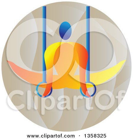Clipart of a Colorful Gymnast Athlete on Still Rings in a Circle - Royalty Free Vector Illustration by patrimonio
