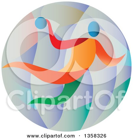 Clipart of a Colorful Athlete Handball Player in a Circle - Royalty Free Vector Illustration by patrimonio