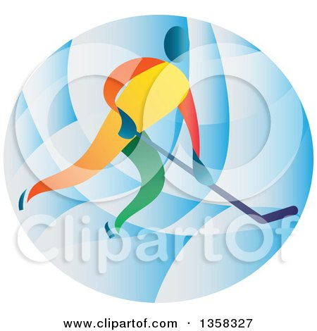 Clipart of a Colorful Athlete Playing Ice Hockey in a Blue Oval - Royalty Free Vector Illustration by patrimonio