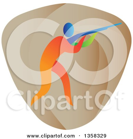 Clipart of a Colorful Athlete Trap Shooting in a Shield - Royalty Free Vector Illustration by patrimonio