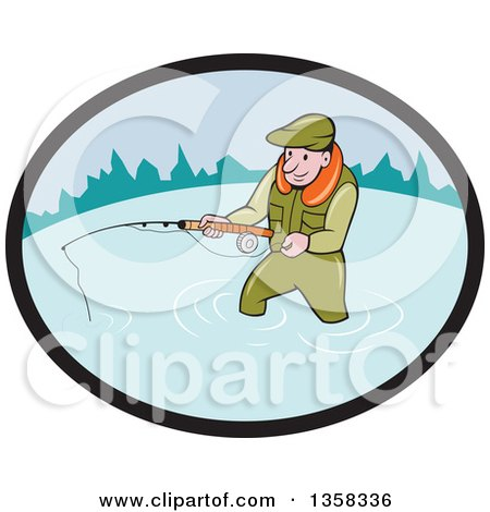 Clipart of a Cartoon White Man Wading and Fly Fishing in an Oval - Royalty Free Vector Illustration by patrimonio