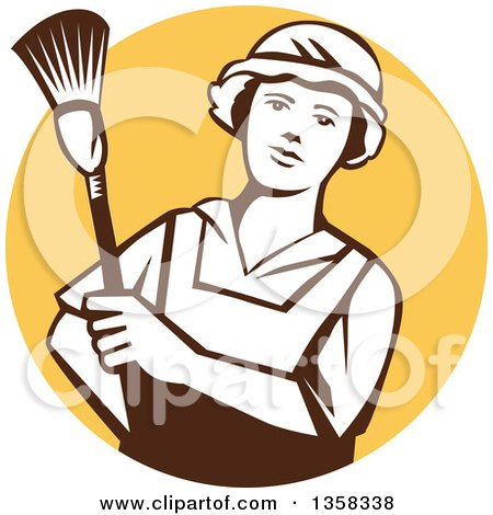 Clipart of a Retro White and Brown Female Maid House Keeper Holding a Duster in a Yellow Circle - Royalty Free Vector Illustration by patrimonio