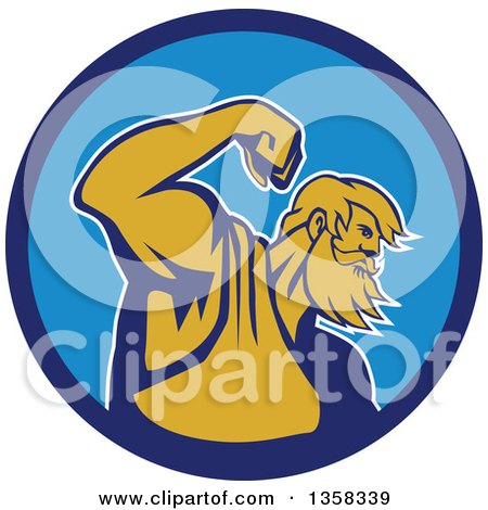 Clipart of a Retro Roman Sea God, Neptune or Poseidon, Flexing His Bicep Muscle in a Blue Circle - Royalty Free Vector Illustration by patrimonio