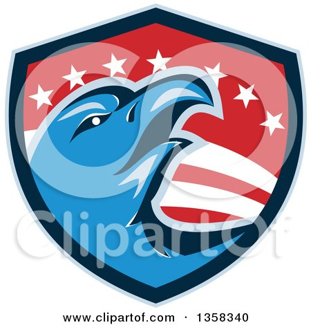 Clipart of a Retro Blue Bald Eagle Head in an American Shield - Royalty Free Vector Illustration by patrimonio