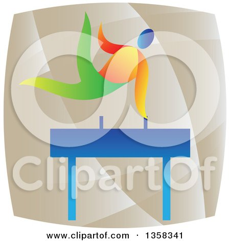 Clipart of a Colorful Gymnast Athlete on a Pommel Horse in a Square - Royalty Free Vector Illustration by patrimonio