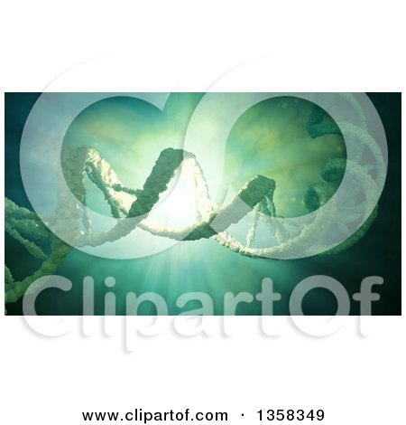 Clipart of a 3d Dna Strand Floating in Liquid over a Light Burst - Royalty Free Illustration by Mopic