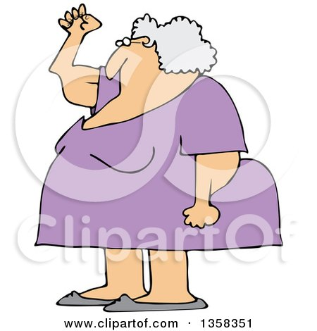 Clipart of a Cartoon Chubby Senior White Woman Holding up a Fist, with Her Arms Sagging - Royalty Free Vector Illustration by djart