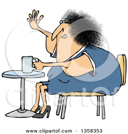 Clipart of a Cartoon Chubby White Woman Sitting with Coffee at a Table and Waving - Royalty Free Vector Illustration by djart