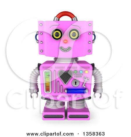 Clipart of a 3d Retro Pink Female Robot Smiling, on a White Background - Royalty Free Illustration by stockillustrations