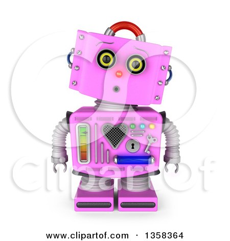 Clipart of a 3d Surprised Retro Pink Female Robot, on a White Background - Royalty Free Illustration by stockillustrations