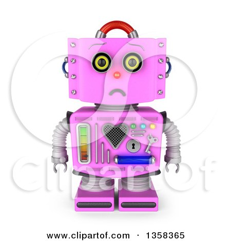 Clipart of a 3d Sad Retro Pink Female Robot Pouting, on a White Background - Royalty Free Illustration by stockillustrations