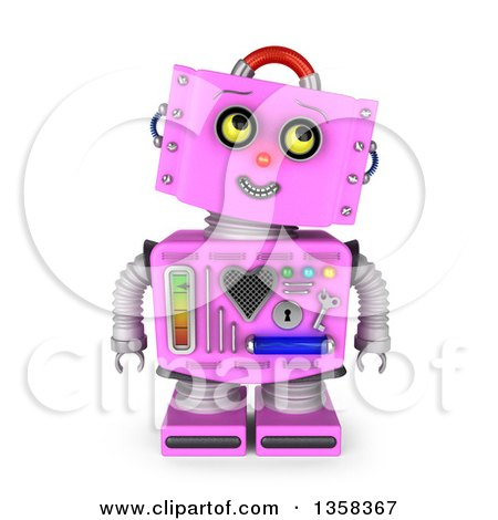 Clipart of a 3d Retro Pink Female Robot Looking up to the Right, on a White Background - Royalty Free Illustration by stockillustrations