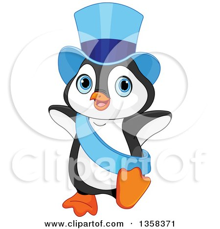 Clipart of a Cute New Year Penguin Dancing in a Blue Top Hat and Sash - Royalty Free Vector Illustration by Pushkin