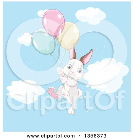 Clipart of a Cute Bunny Rabbit Floating with Party Balloons in the Sky - Royalty Free Vector Illustration by Pushkin