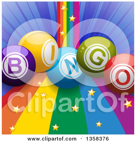 Clipart of 3d Colorful Bingo Balls over a Rainbow Curve with Gold Stars and a Blue Burst - Royalty Free Vector Illustration by elaineitalia