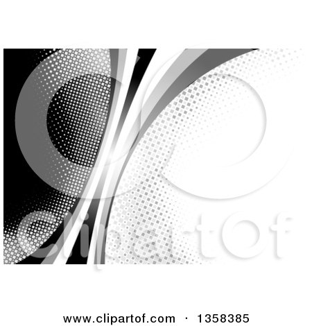 Clipart of a Background of a Curve Separating Black and White Halftone Bubbles - Royalty Free Vector Illustration by dero