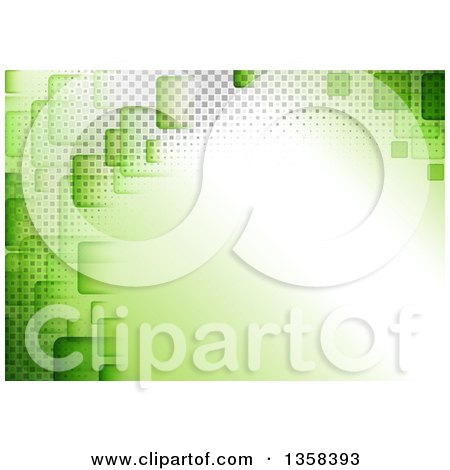 Clipart of a Green Background with Squares and Halftone Around Text Space - Royalty Free Vector Illustration by dero