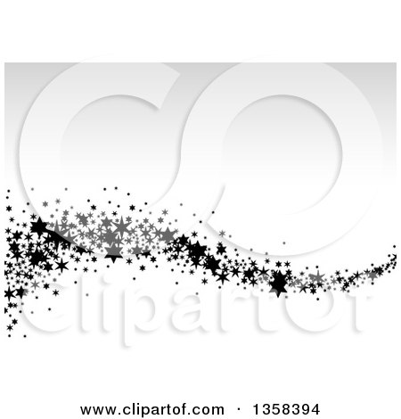 Clipart of a Wave of Black Stars over Gradient Gray and White - Royalty Free Vector Illustration by dero