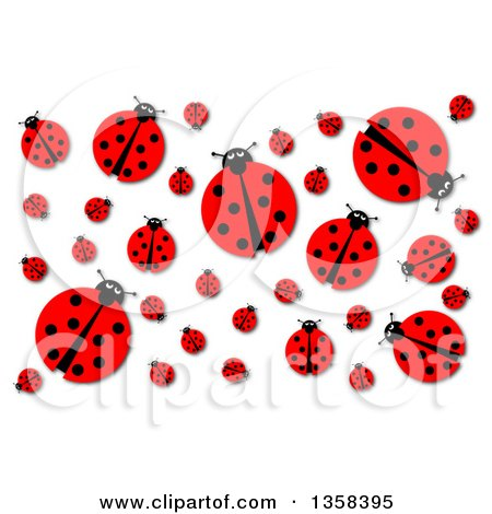 Clipart of a Background of a Ladybugs and Shadows on White - Royalty Free Illustration by oboy