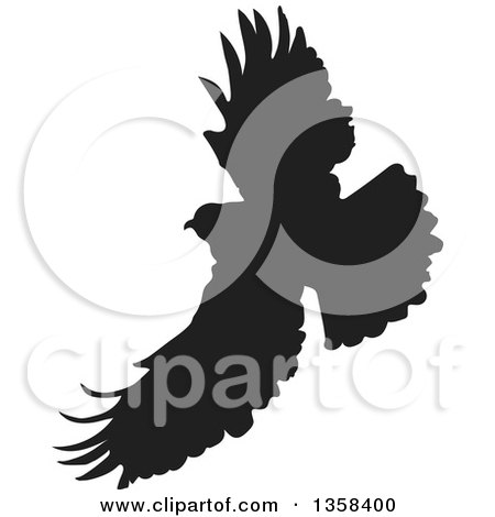 Clipart of a Black Silhouetted Eagle in Flight - Royalty Free Vector Illustration by Maria Bell
