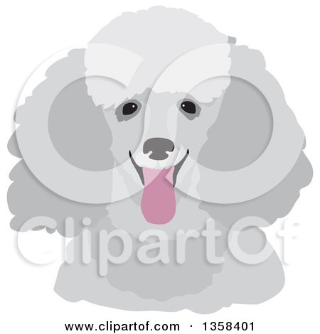 Clipart of a Happy Gray Panting Toy Poodle Dog - Royalty Free Vector Illustration by Maria Bell