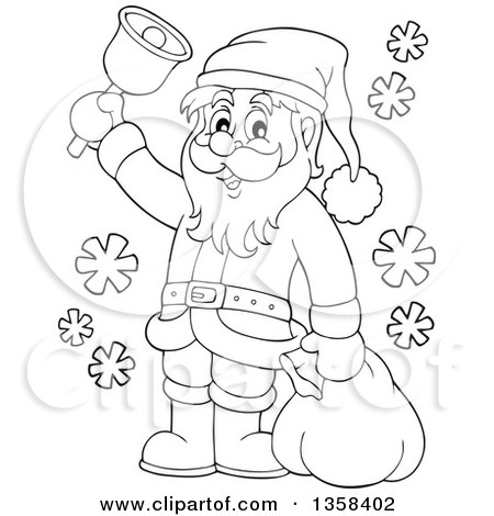 clipart of a cartoon black and white christmas santa claus ringing a bell royalty free vector illustration by visekart - White Santa Claus