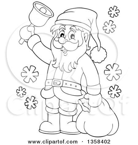 clipart of a cartoon black and white christmas santa claus ringing a rh clipartof com santa claus clipart black and white santa clipart black and white free
