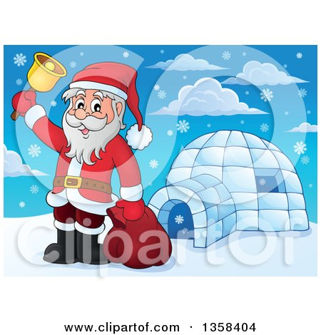 Clipart of a Cartoon Christmas Santa Claus Ringing a Bell by an Igloo - Royalty Free Vector Illustration by visekart