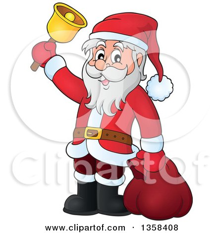 Clipart of a Cartoon Christmas Santa Claus Ringing a Bell - Royalty Free Vector Illustration by visekart