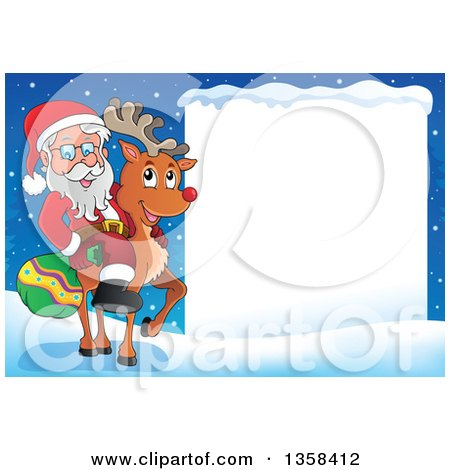 Clipart of a Cartoon Christmas Santa Claus Riding Rudolph the Red Nosed Reindeer by a Blank Sign - Royalty Free Vector Illustration by visekart