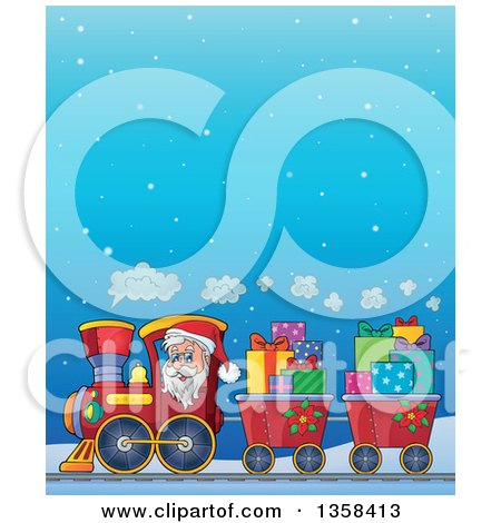 Clipart of a Cartoon Christmas Santa Claus Driving a Train Full of Gifts over a Snowy Night Sky - Royalty Free Vector Illustration by visekart