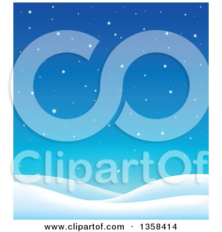 Clipart of a Snowy Winter Night Background with Hills - Royalty Free Vector Illustration by visekart